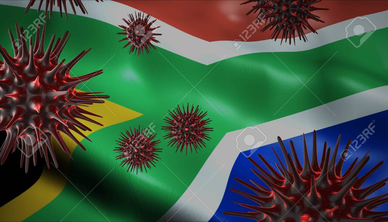 A coronavirus spinning with South Africa flag behind as epidemic outbreak infection in South Africa - 143781619