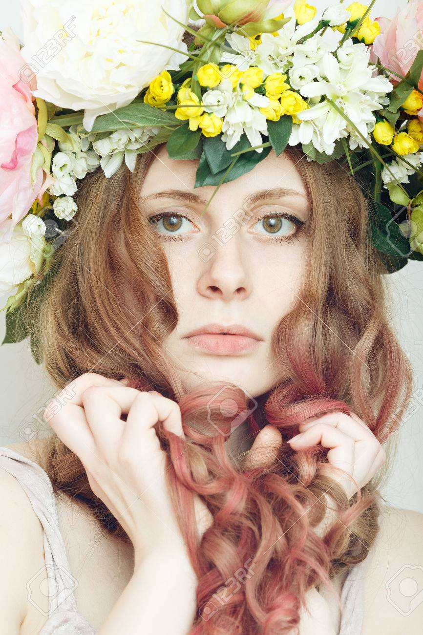 Pretty Girl With Flower Crown On Head On White Background Stock
