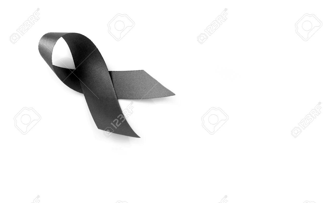S mbolo de la cinta de luto negro sobre fondo blanco foto de archivo 67559221