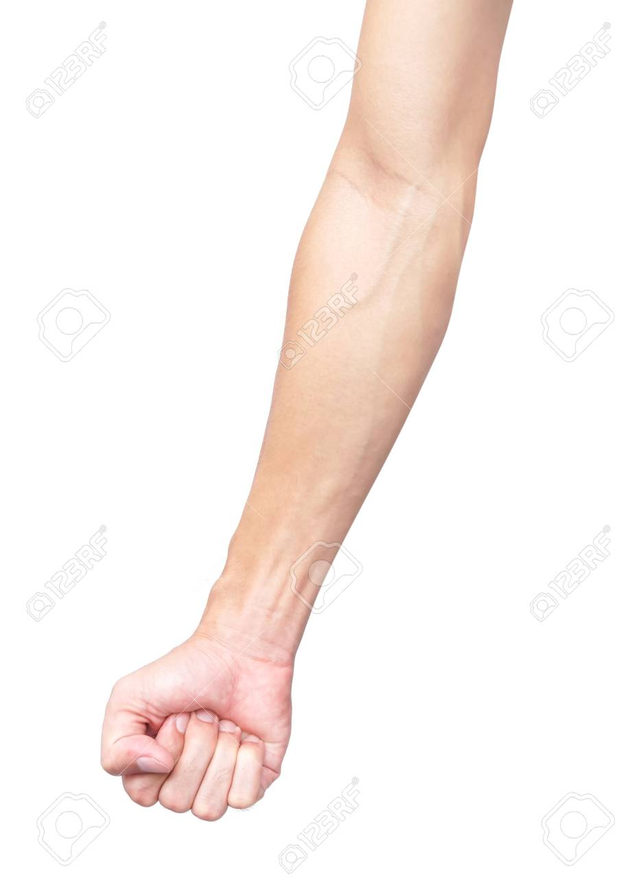 Man arm with blood veins on white background, health care and medical concept - 88245575