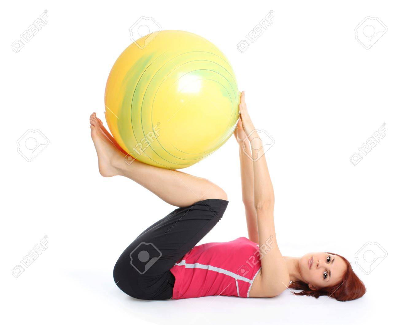 young girl with fit ball Stock Photo - 6498353
