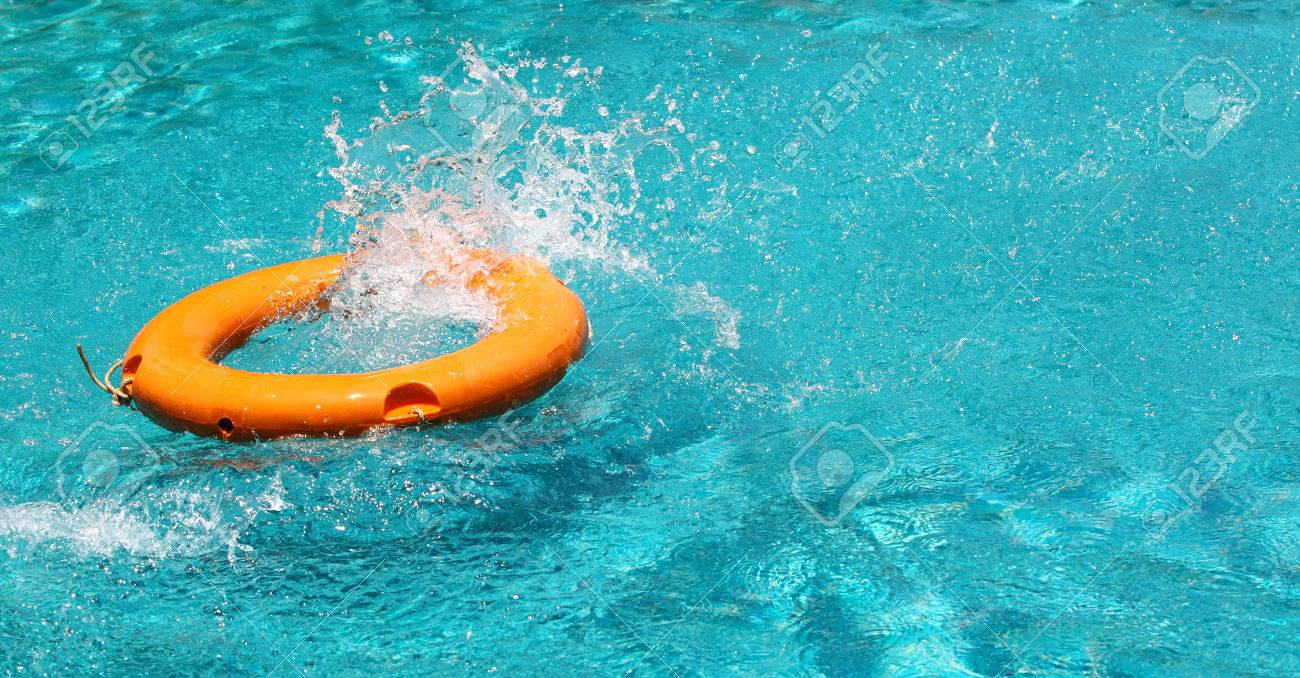 Clear Pool Water Wallpaper orange life buoy splash water in the clear blue water swimming