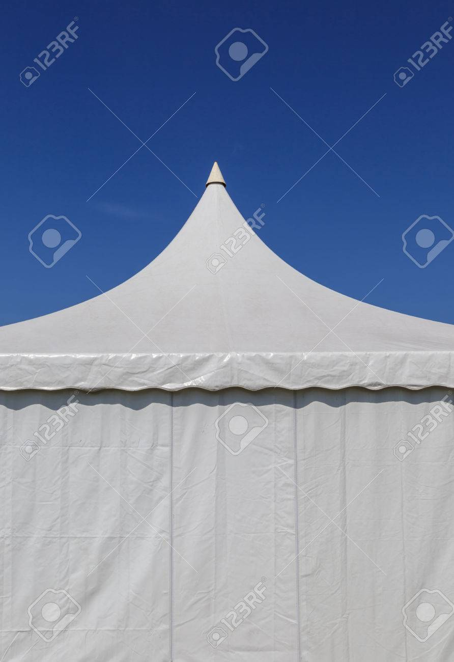 Stock Photo - The white canvas tent for large event with blue sky background. & The White Canvas Tent For Large Event With Blue Sky Background ...
