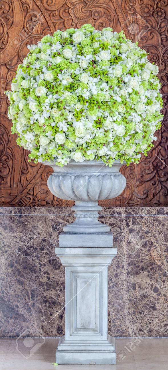 Big Flowers Bouquet In The Vase Decoration In The Hotel Lobby. Stock ...