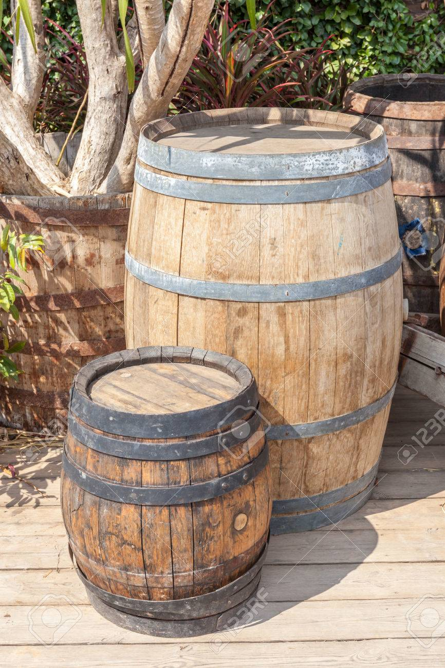 Small And Large Oak Barrel Planter Use For Decoration In Garden