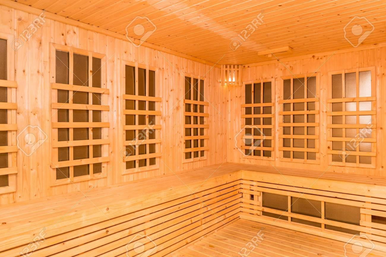 Interior De Madera De La Sala De Sauna De Infrarrojos Nueva - Sauna-madera