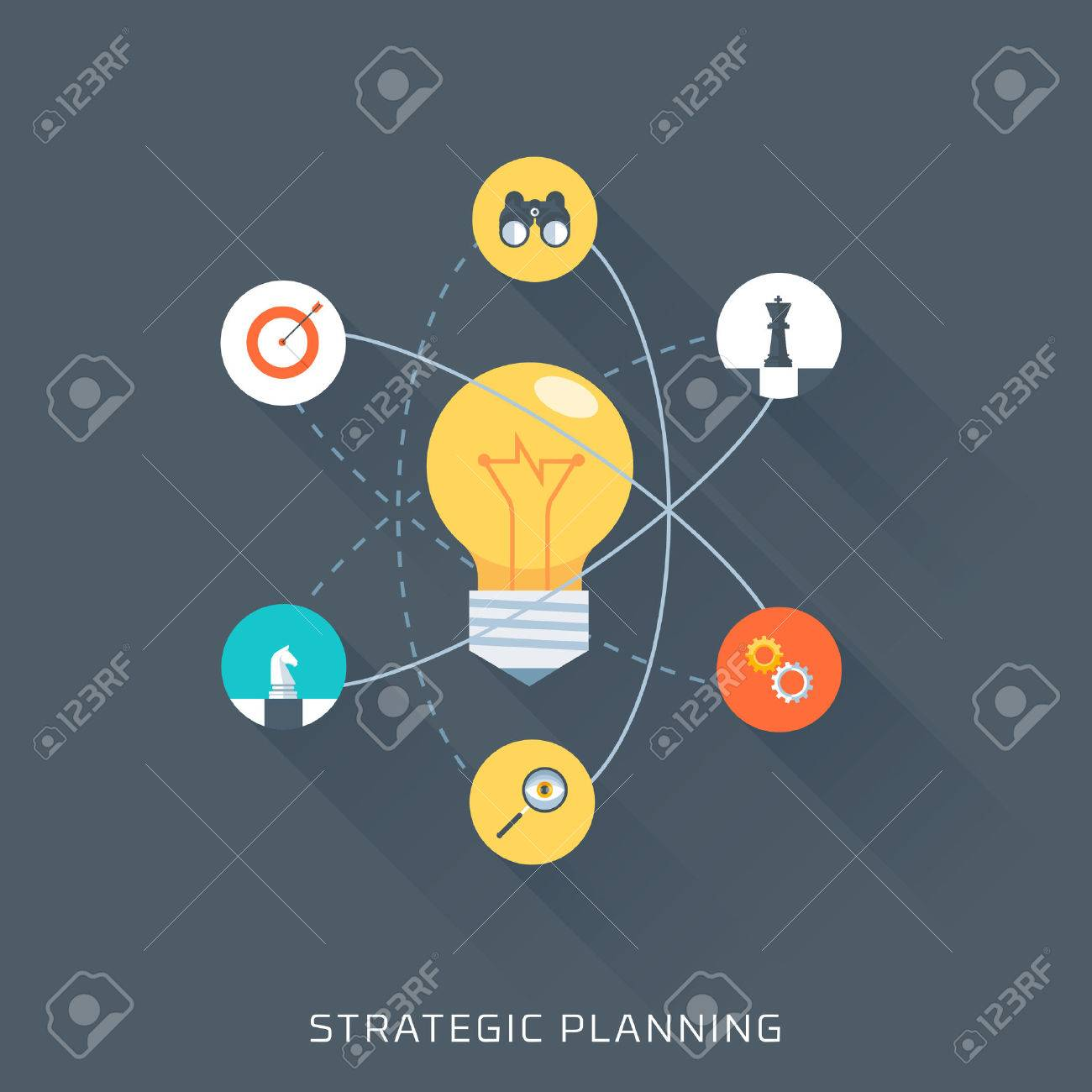Strategic planning, flat style, colorful, vector icon set for info graphics, websites, mobile and print media. - 41709063