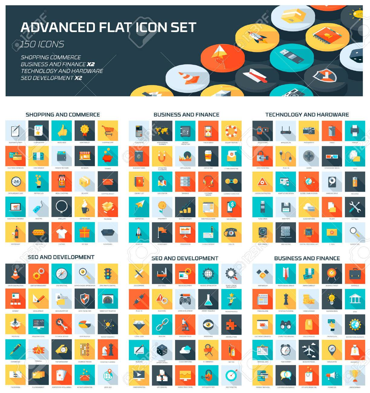 Advanced Web Icon Set flat style, colorful, vector icon set for info graphics, websites, mobile and print media. - 41709120