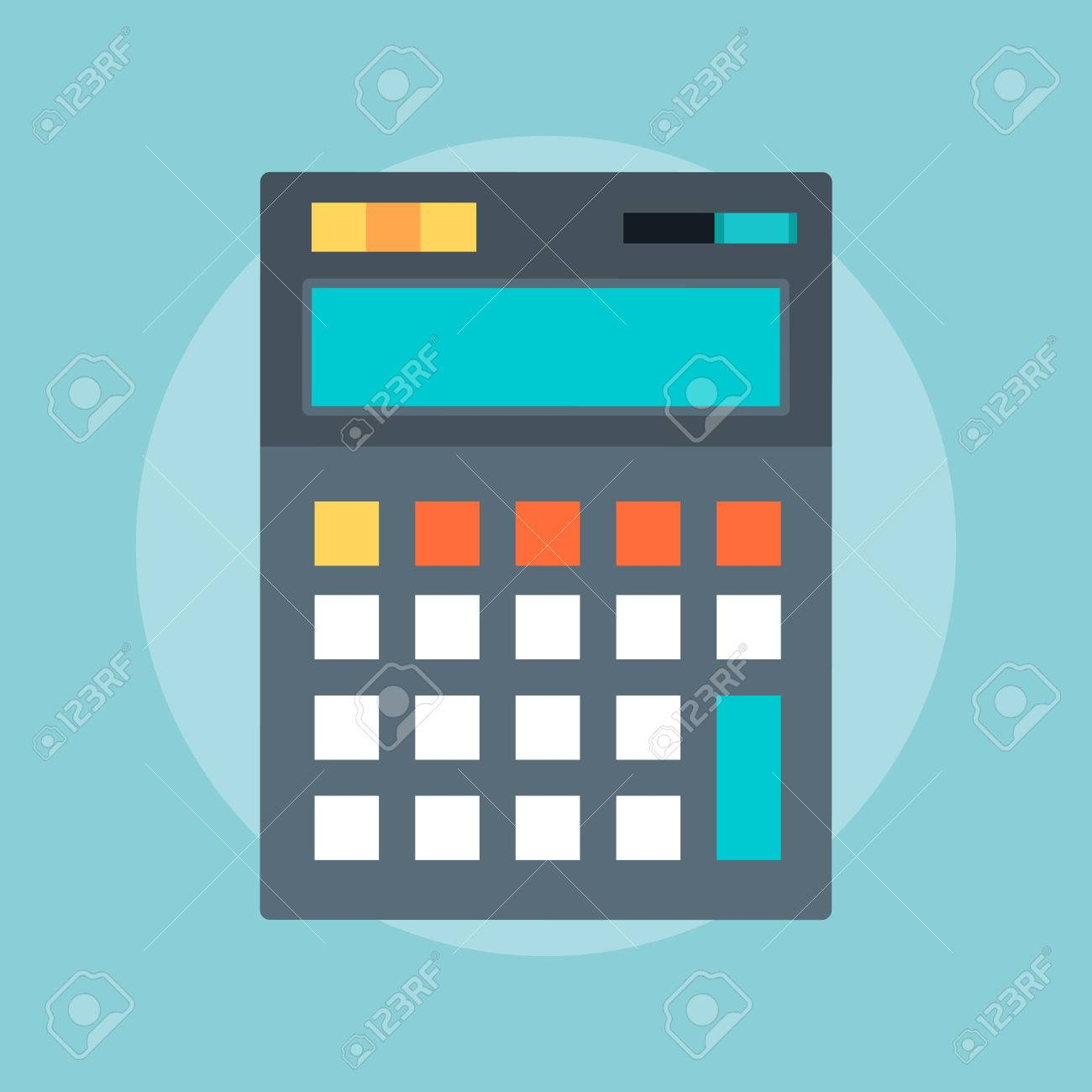 Calculator flat style, colorful, vector icon for info graphics, websites, mobile and print media. - 41709351