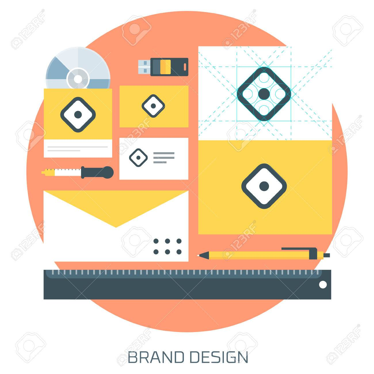 Brand Design theme flat style, minimal, stylish colorful, vector icon for info graphics, websites, mobile and print media. - 41709358