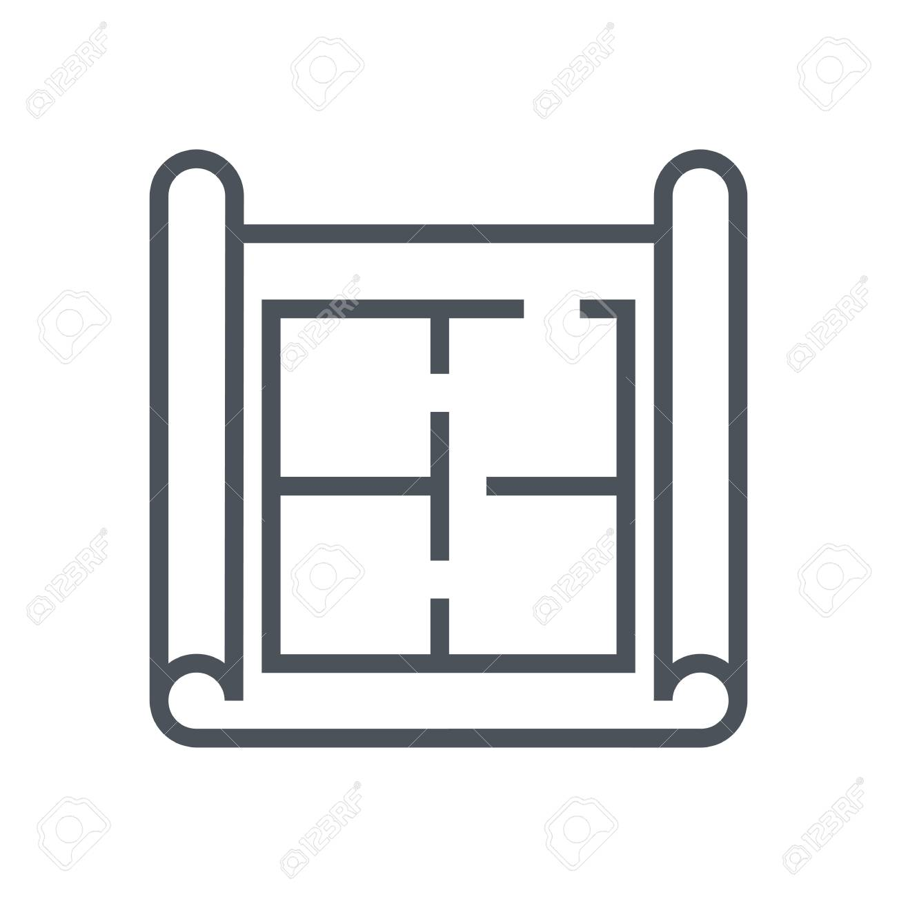 House Plan, Wireframe Icon Suitable For Info Graphics, Websites ...