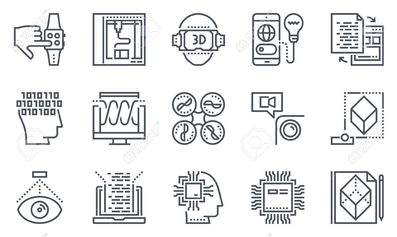 Technology icon set suitable for info graphics, websites and print media. Black and white flat line icons. - 55906992