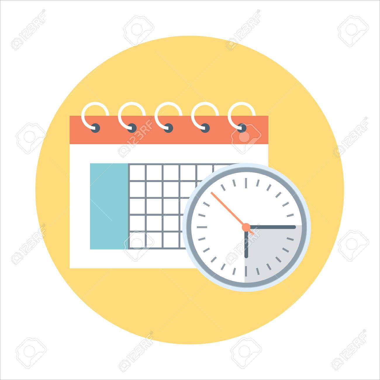 Calendar, time management flat style, colorful, vector icon for info graphics, websites, mobile and print media. - 55927171