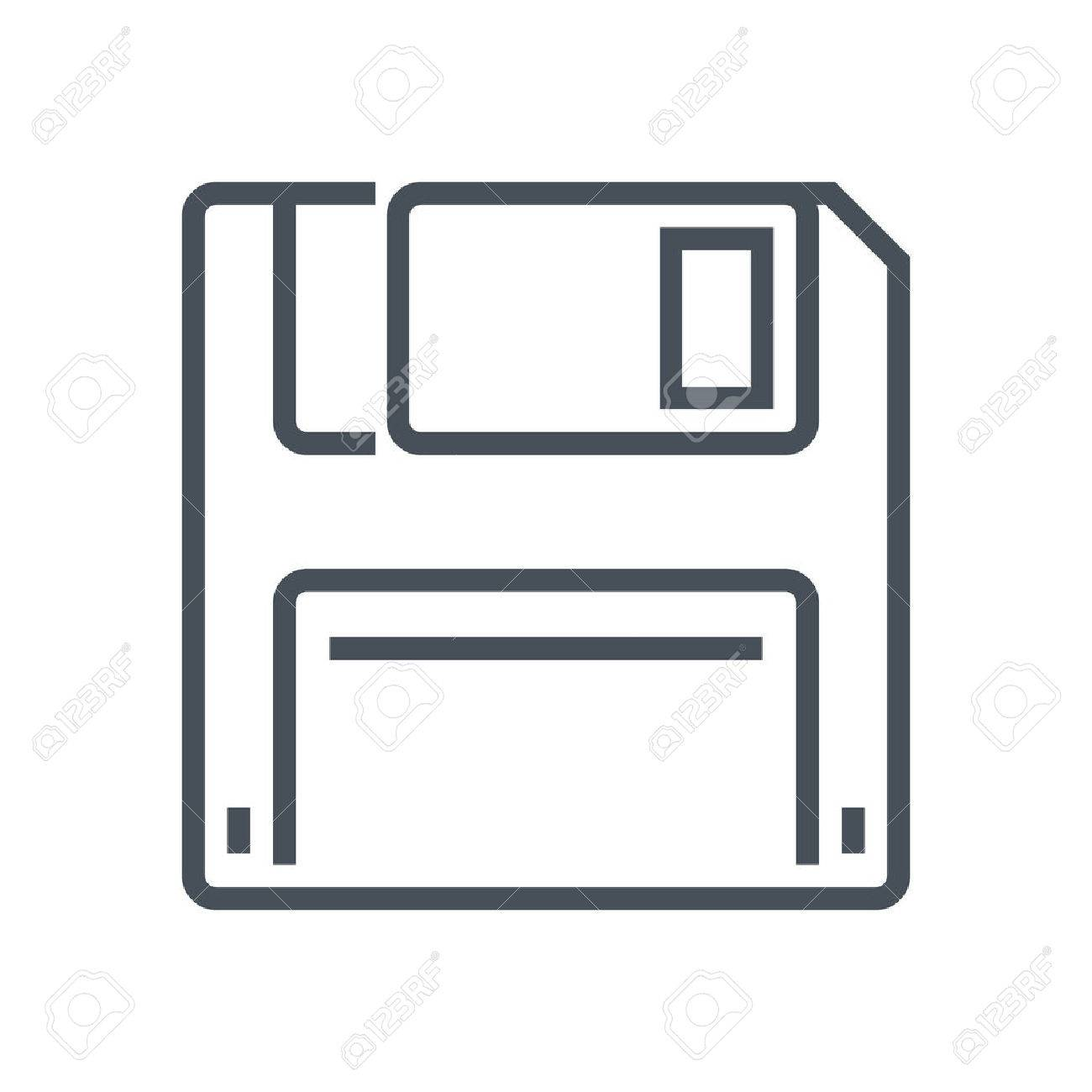 Floppy diskette, save icon suitable for info graphics, websites and print media and interfaces. Line vector icon. - 55927734