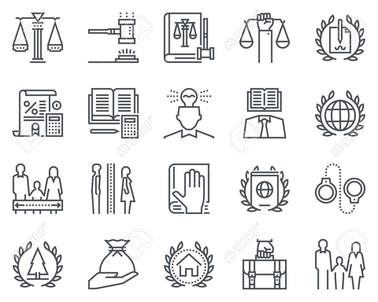 Law and justice icon set suitable for info graphics, websites and print media. Black and white flat line icons. - 55927434