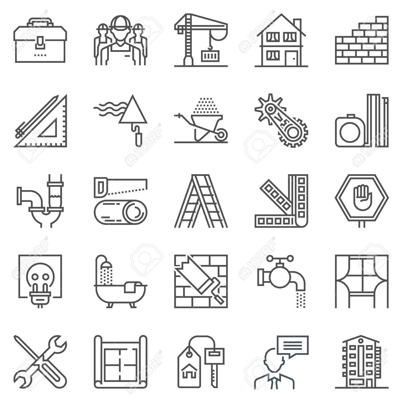 Construction theme icon set suitable for info graphics, websites and print media. Black and white flat line icons. - 55936293