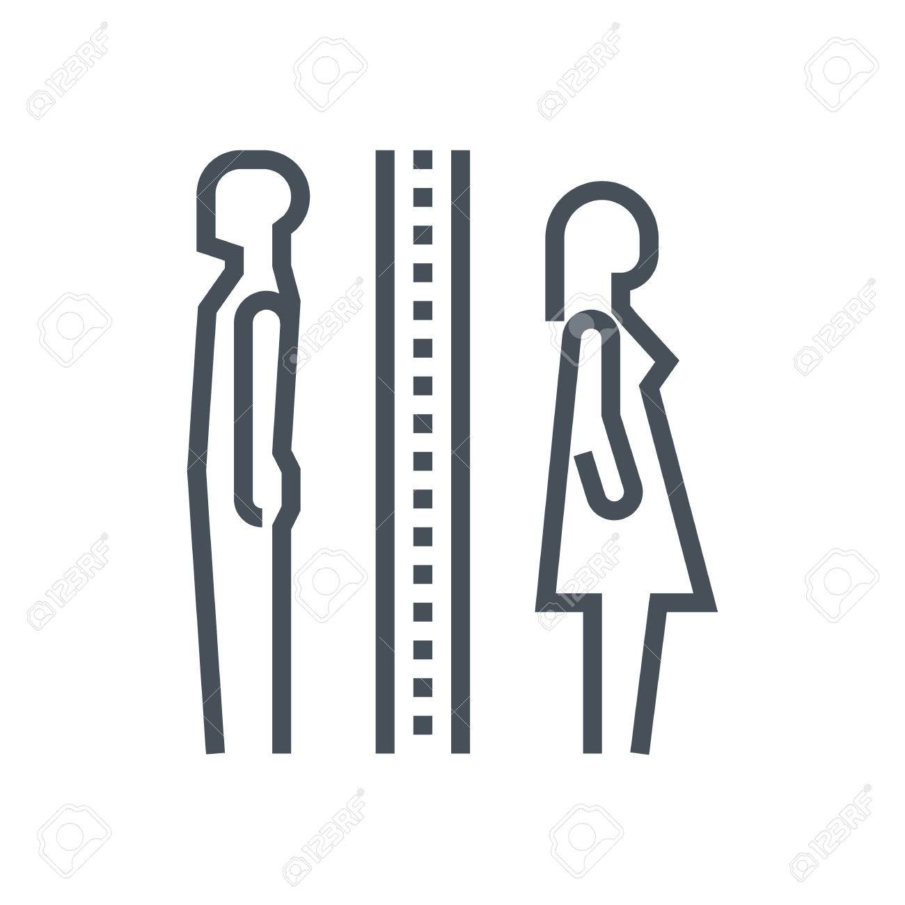 Divorce icon suitable for info graphics, websites and print media and interfaces. Line vector icon. Human face, head, line vector icon. - 55945063