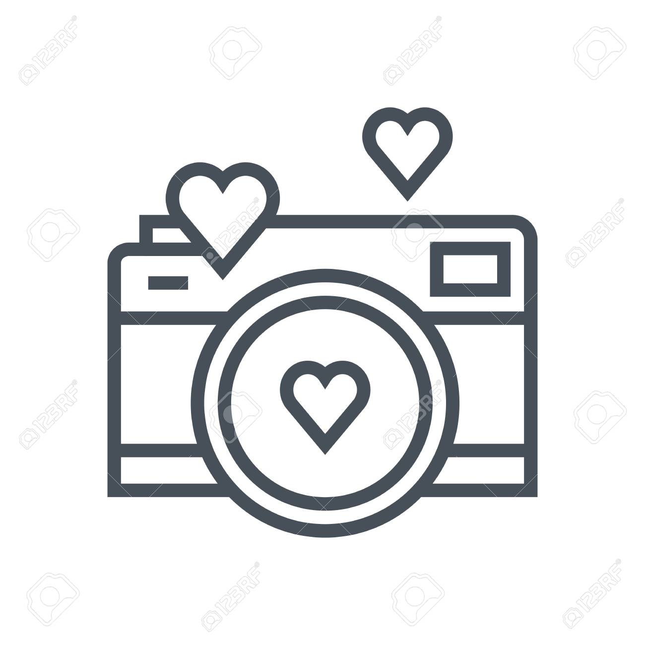 Valentines Day Camera Icon Suitable For Info Graphics Websites