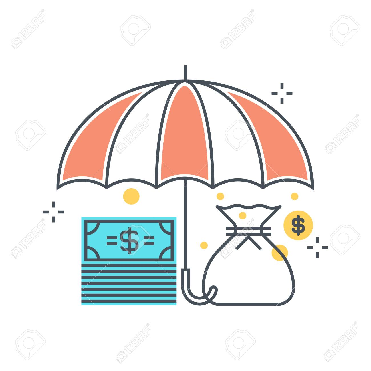 Color line, umbrella, insurance illustration, icon, background and graphics. The illustration is colorful, flat, pixel perfect, suitable for web and print. Linear stokes and fills. - 69209408
