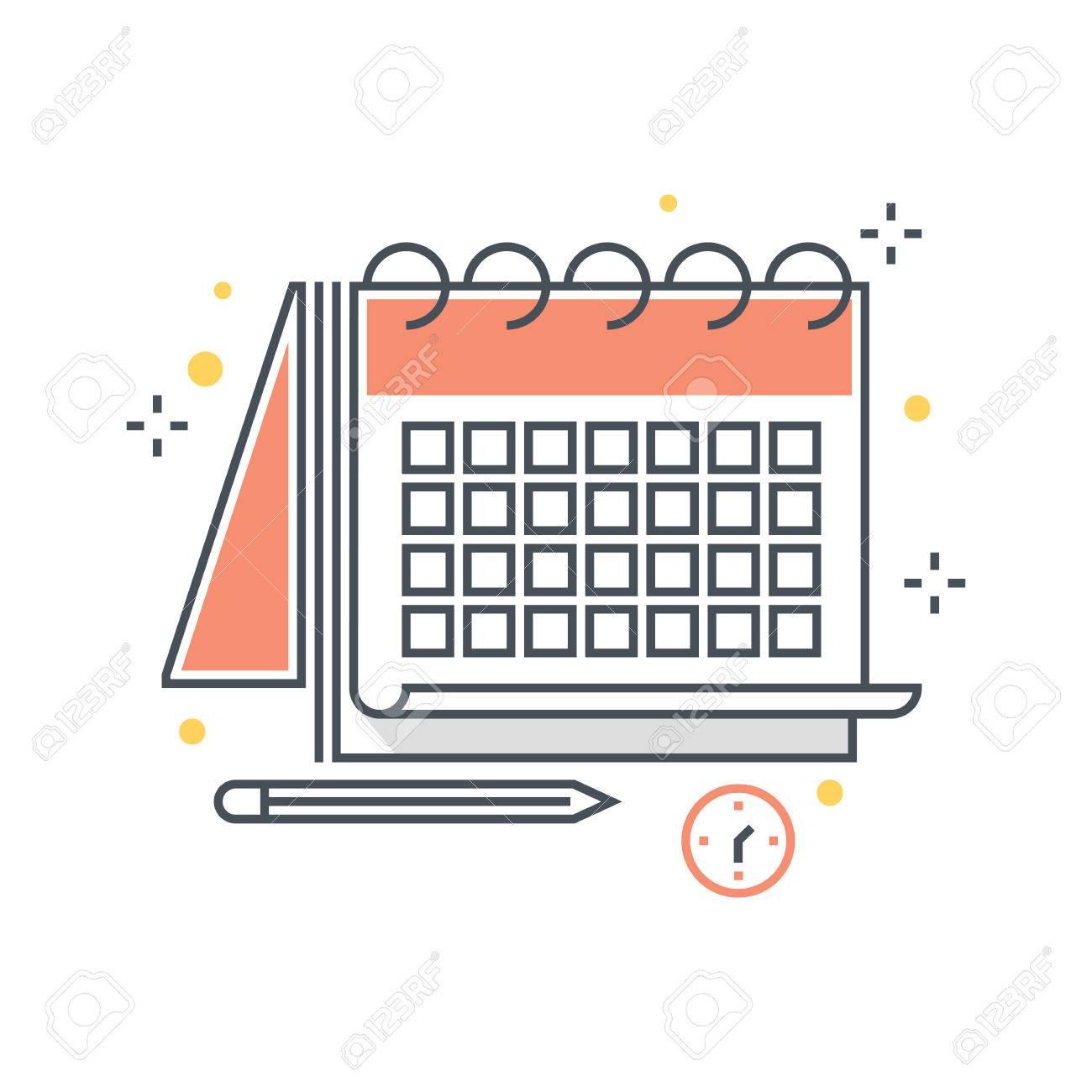 Calendario Timing.Linea Di Colore Calendario Timing Illustrazione Di Scadenza Icona Sfondo E Grafica L Illustrazione E Colorato Piatto Pixel Perfetto Adatto