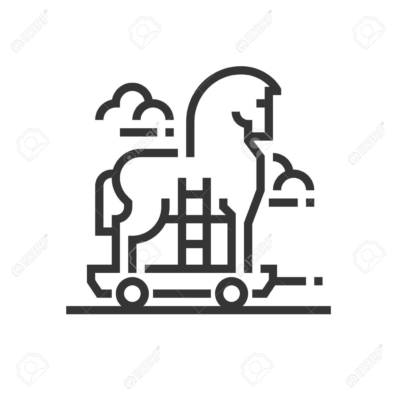 Trojan Horse Icon, Part Of The Square Icons, Car Service Icon Set. The