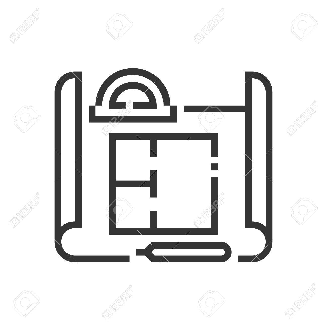 House plan icon, part of the square icons, real estate icon set