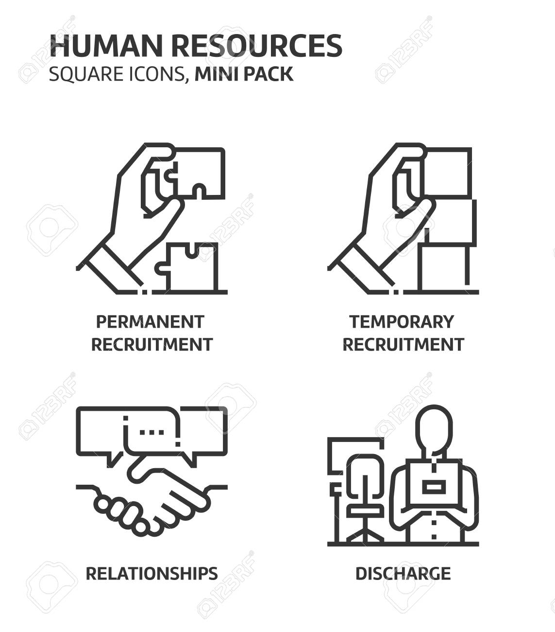 Human resources, square mini icon set. The illustrations are a vector, editable stroke, thirty-two by thirty-two matrix grid, pixel perfect files. Crafted with precision and eye for quality. - 84119517