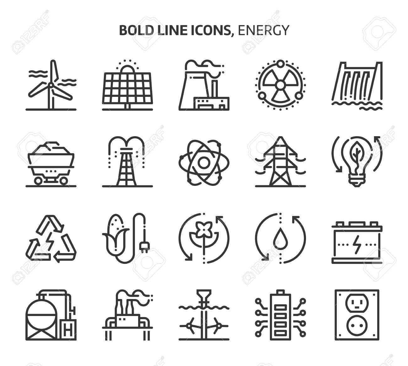 Energy, bold line icons. The illustrations are a vector, editable stroke, 48x48 pixel perfect files. Crafted with precision and eye for quality. - 103116191