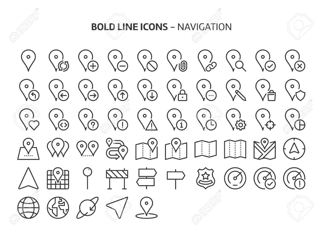 Navigation, bold line icons. The illustrations are a vector, editable stroke, 48x48 pixel perfect files. Crafted with precision and eye for quality. - 125627986