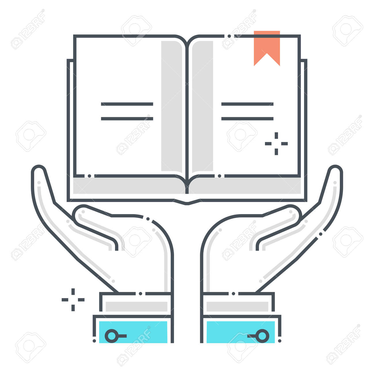 Intellectual property related color line vector icon, illustration. The icon is about assurance, book, intellectual property, ownership. The composition is infinitely scalable. - 163695981