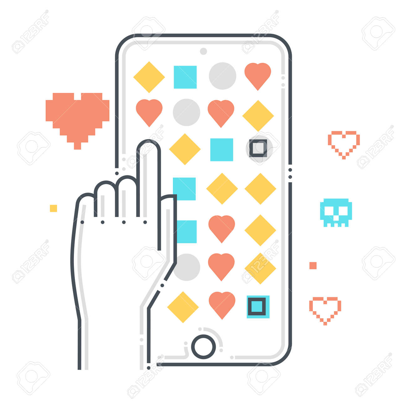 Mobile game related color line vector icon, illustration. The icon is about touch, mobile phone, application, store, points. The composition is infinitely scalable. - 163695983