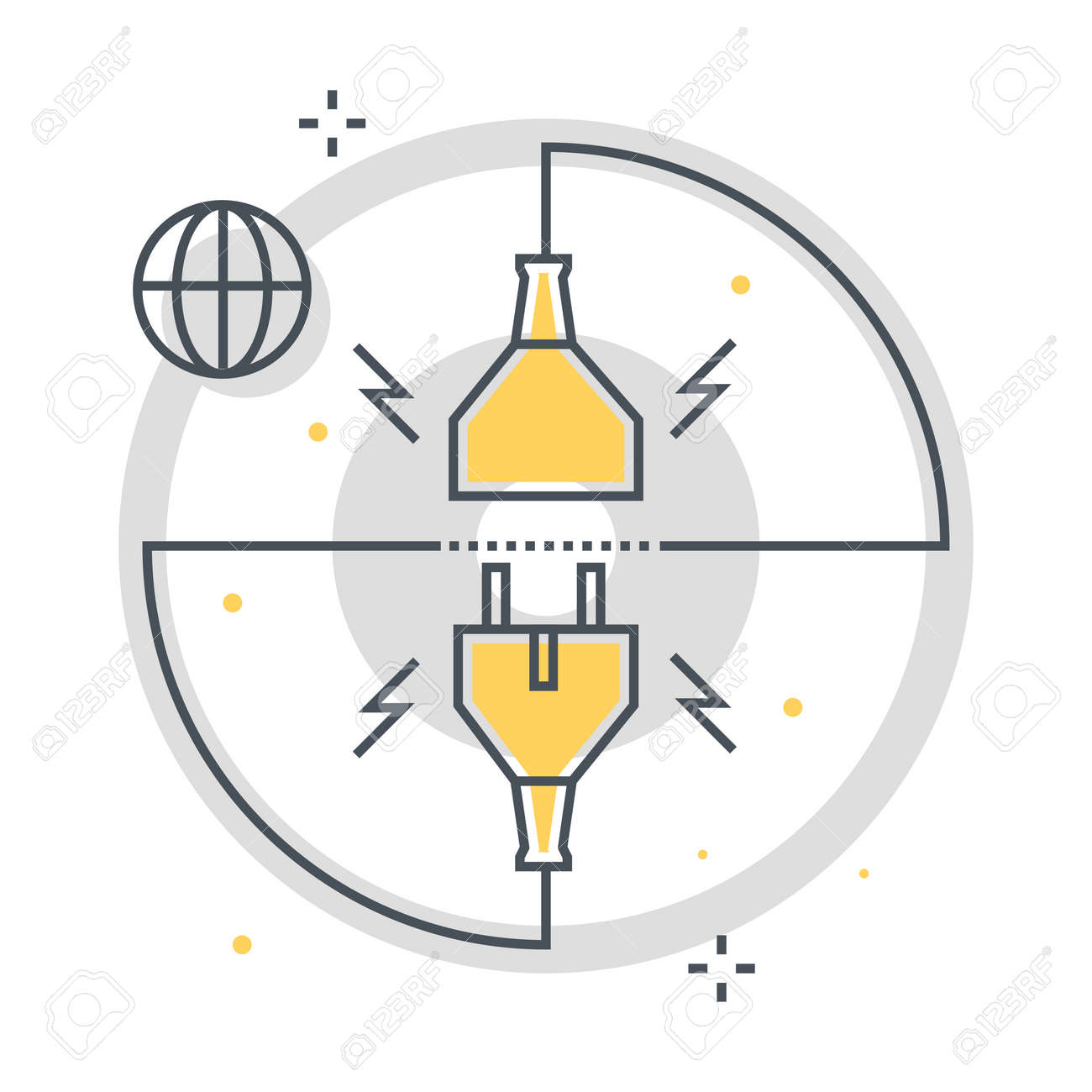 Connection related color line vector icon, illustration. The icon is about cable, socket, router, wire. The composition is infinitely scalable. - 163697635