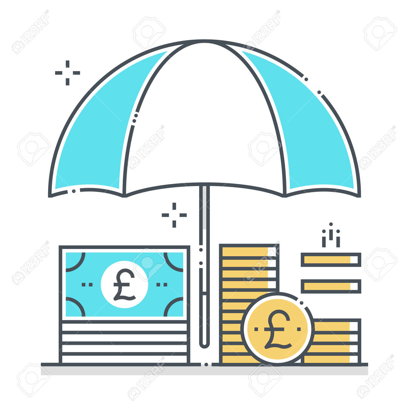 Income protection related color line vector icon, illustration. The icon is about assurance, umbrella, income, bank, account, money, coin. The composition is infinitely scalable. - 163696002