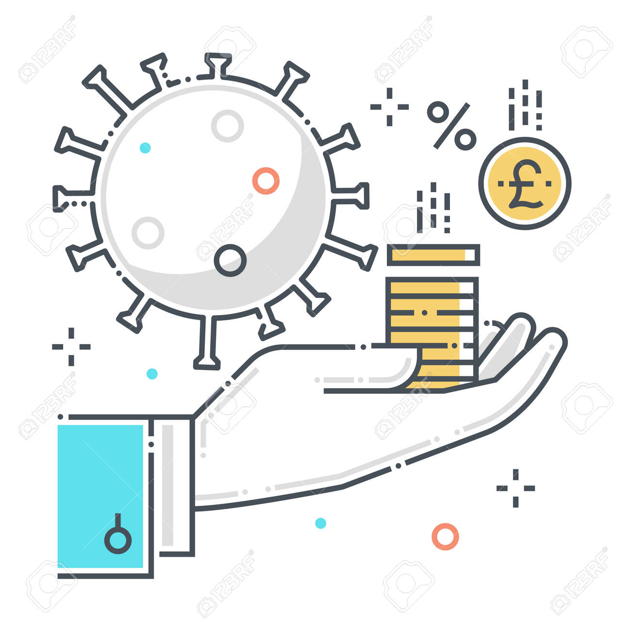Funding related color line vector icon, illustration. The icon is about help, economy, corona virus, contamination, epidemic, money. The composition is infinitely scalable. - 163698005