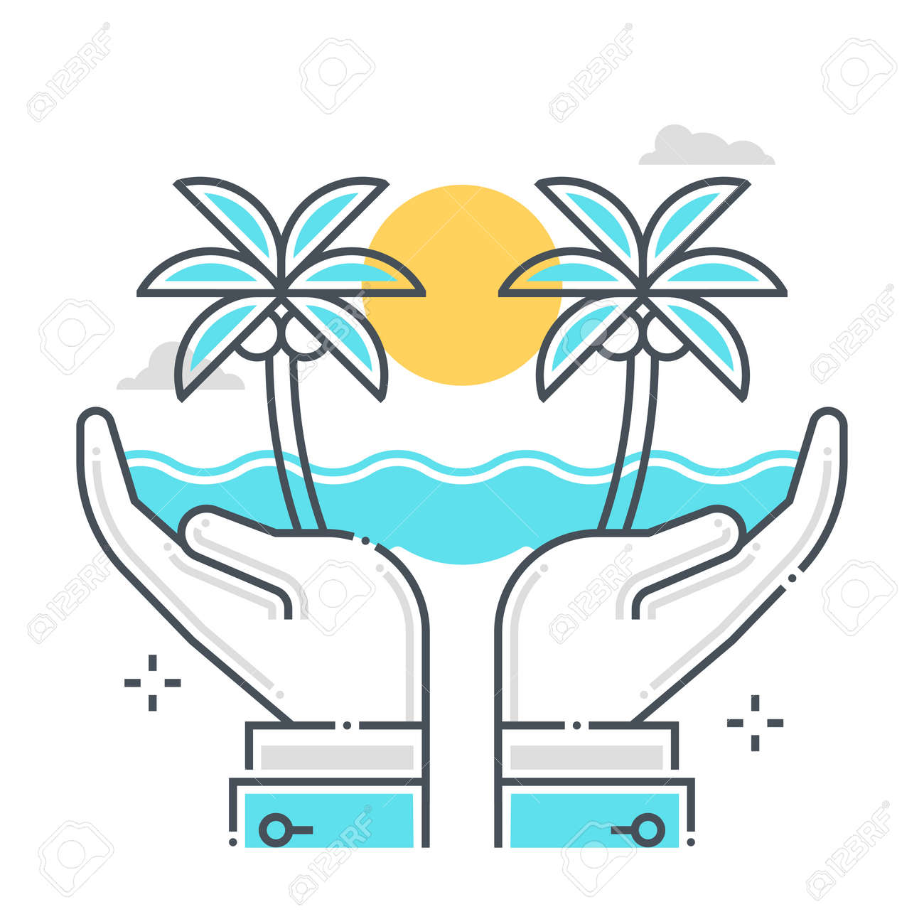 Holiday protection related color line vector icon, illustration. The icon is about assurance, retirement, life, old age, holiday, sea. The composition is infinitely scalable. - 163698047