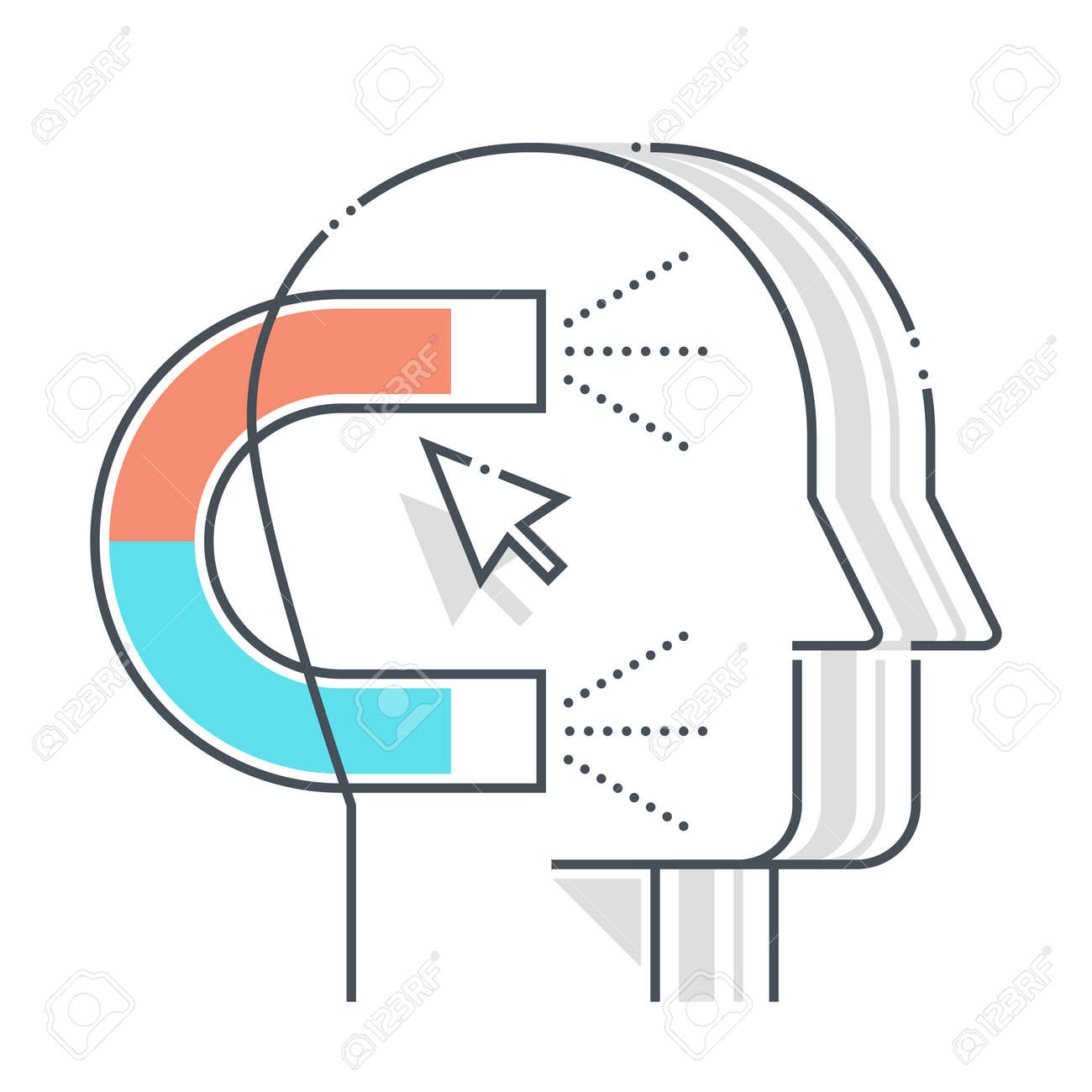 Customer acquisition related color line vector icon, illustration. The icon is about advertisement, cursor, magnet, marketing, solution, clients. The composition is infinitely scalable. - 163698061