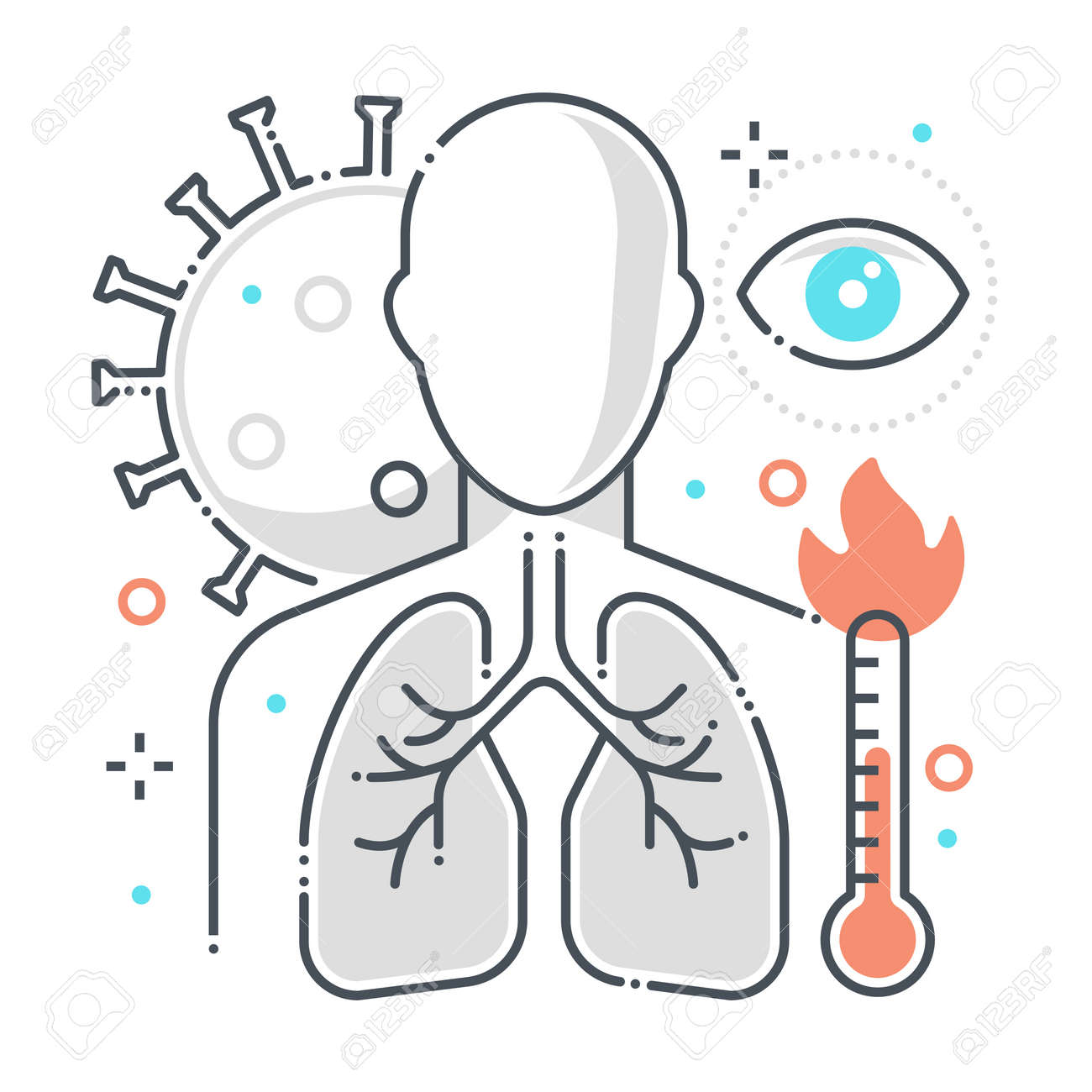 Symptoms related color line vector icon, illustration. The icon is about reparatory disease, fever, eyes, human, corona virus, contamination, epidemic, lungs. The composition is infinitely scalable. - 163698062