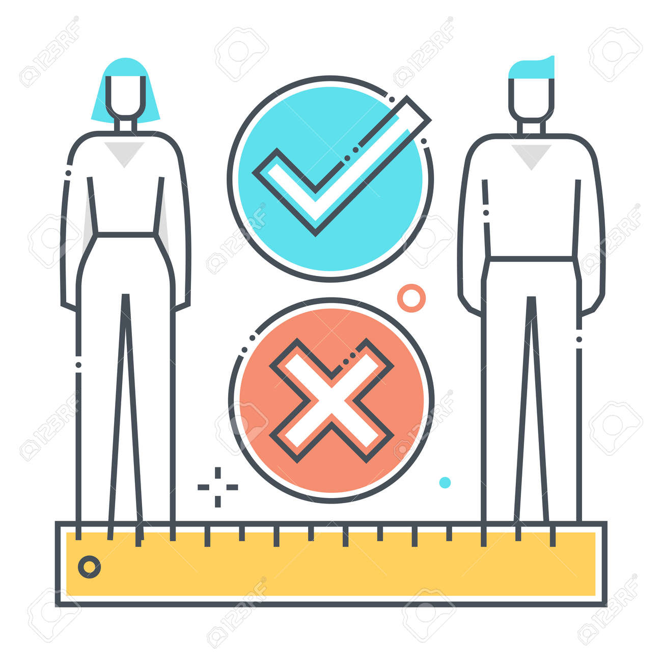 Social distance related color line vector icon, illustration. The icon is about meter, feet, ruler, protection, corona virus, contamination, epidemic. The composition is infinitely scalable. - 163698117