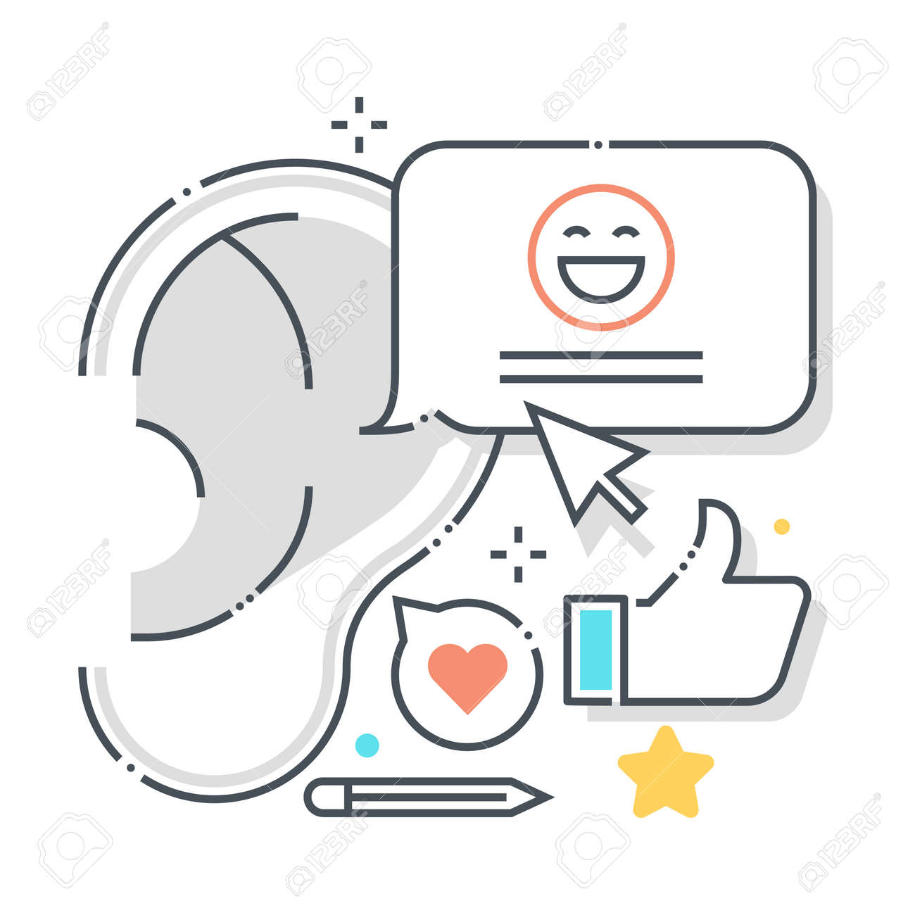 Buzz marketing related color line vector icon, illustration. The icon is about listen, talk, whisper, ear, hand, gossip. The composition is infinitely scalable. - 163698140