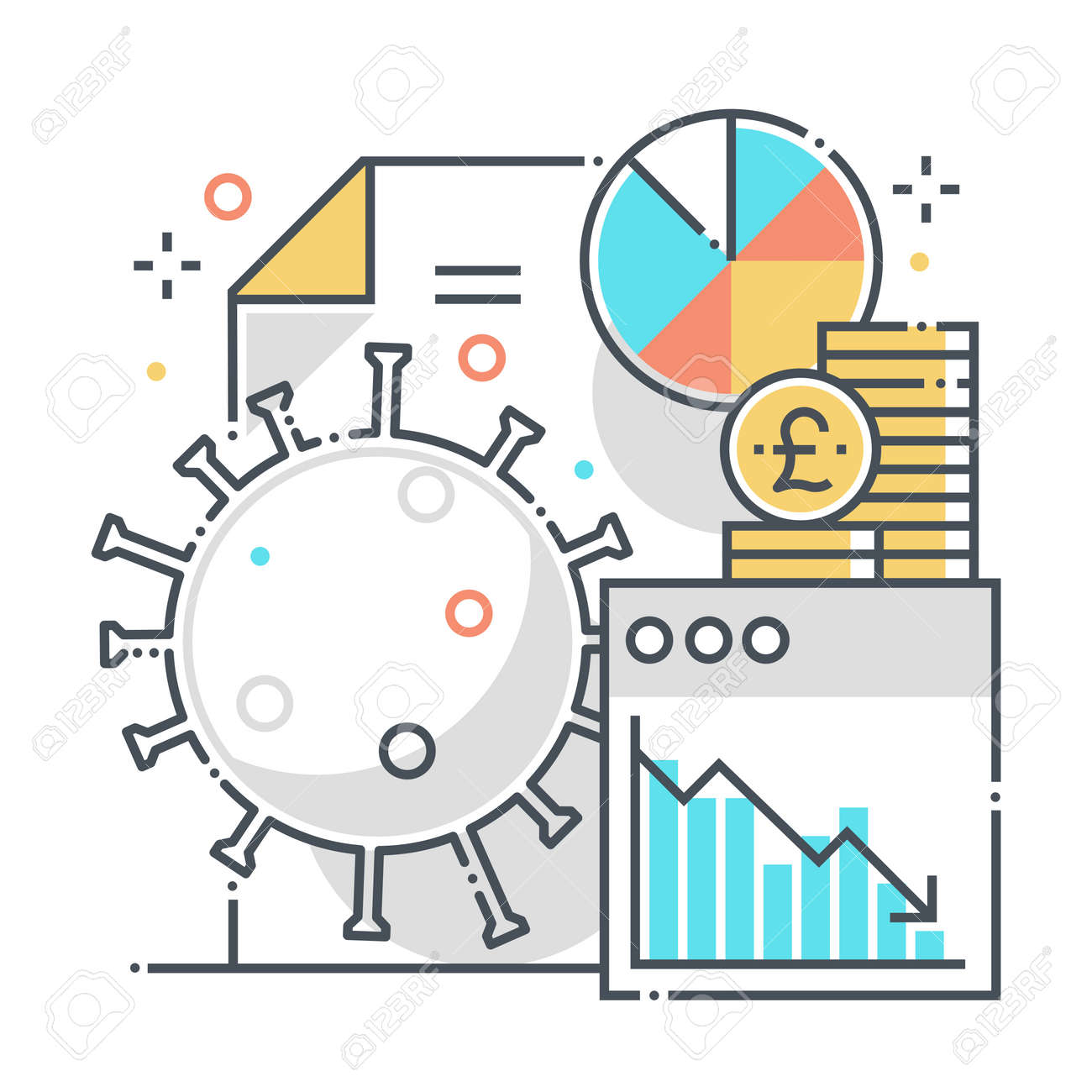 Economy related color line vector icon, illustration. The icon is about statistics, countries, report, percentage, pie chart, corona virus. The composition is infinitely scalable. - 163698141