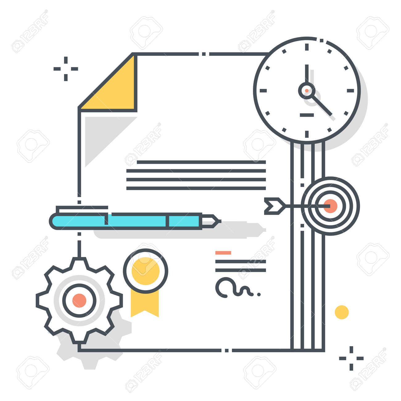 Legal documents related color line vector icon, illustration. The icon is about contract, policy, assurance, start a claim, documents, agreement, submission. The composition is infinitely scalable. - 163698143
