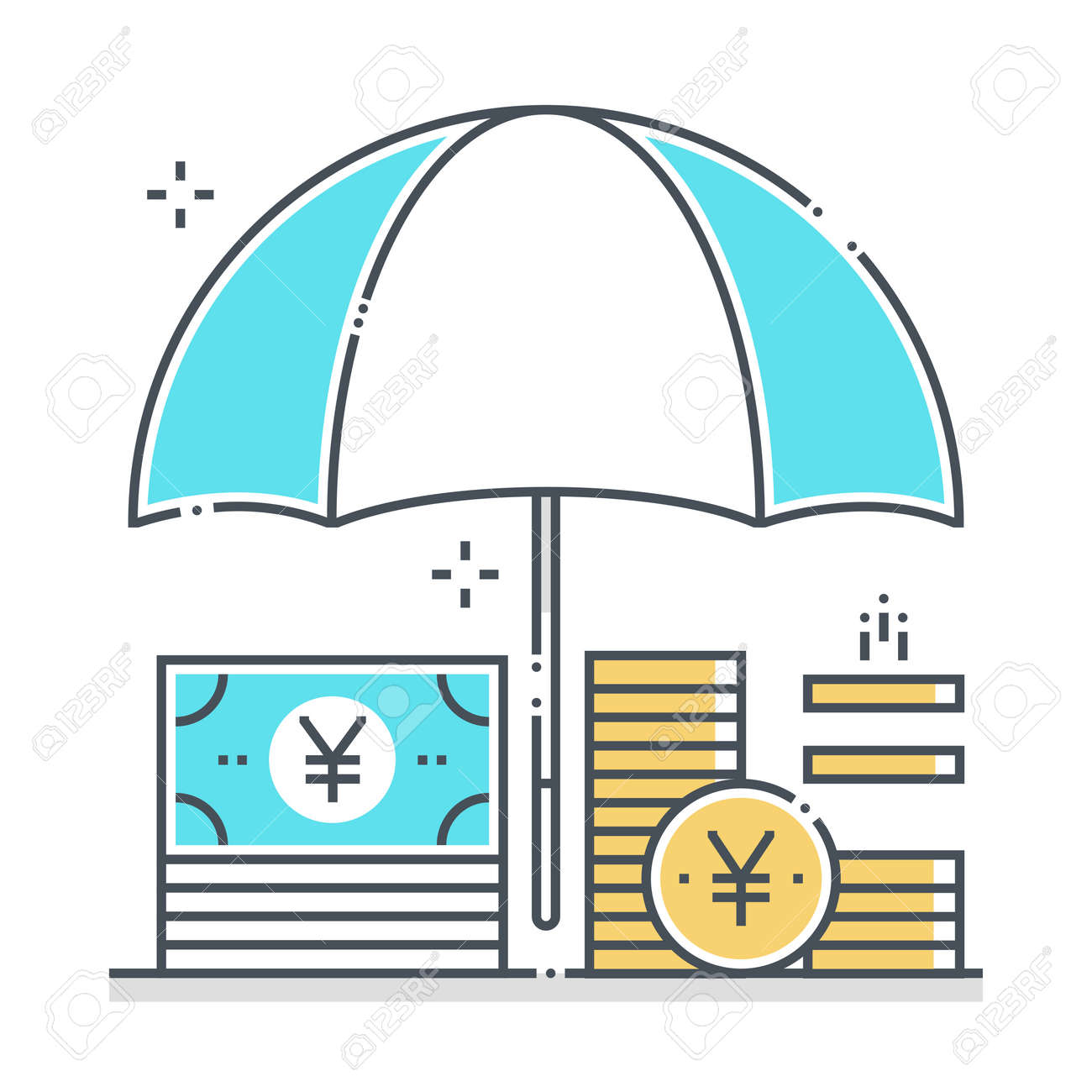 Income protection related color line vector icon, illustration. The icon is about assurance, umbrella, income, bank, account, money, coin. The composition is infinitely scalable. - 163698144
