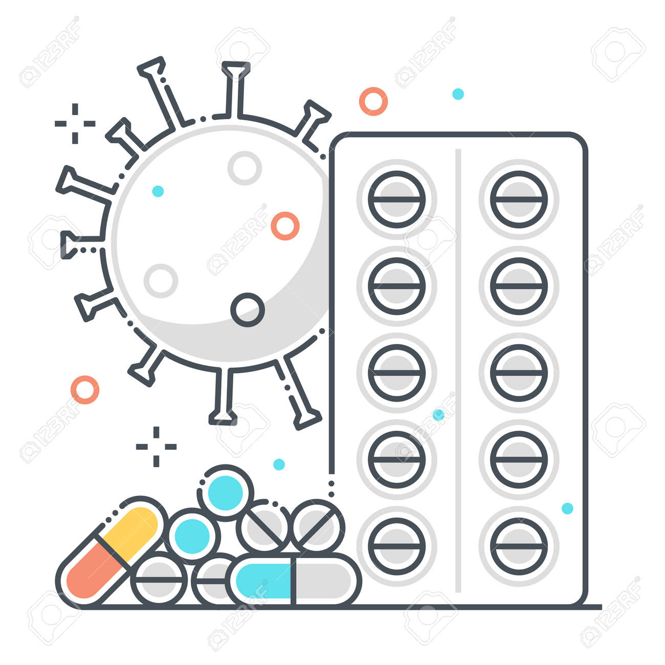Pills related color line vector icon, illustration. The icon is about treatment, medicine, pharmacy, corona virus, contamination, epidemic. The composition is infinitely scalable. - 163698145