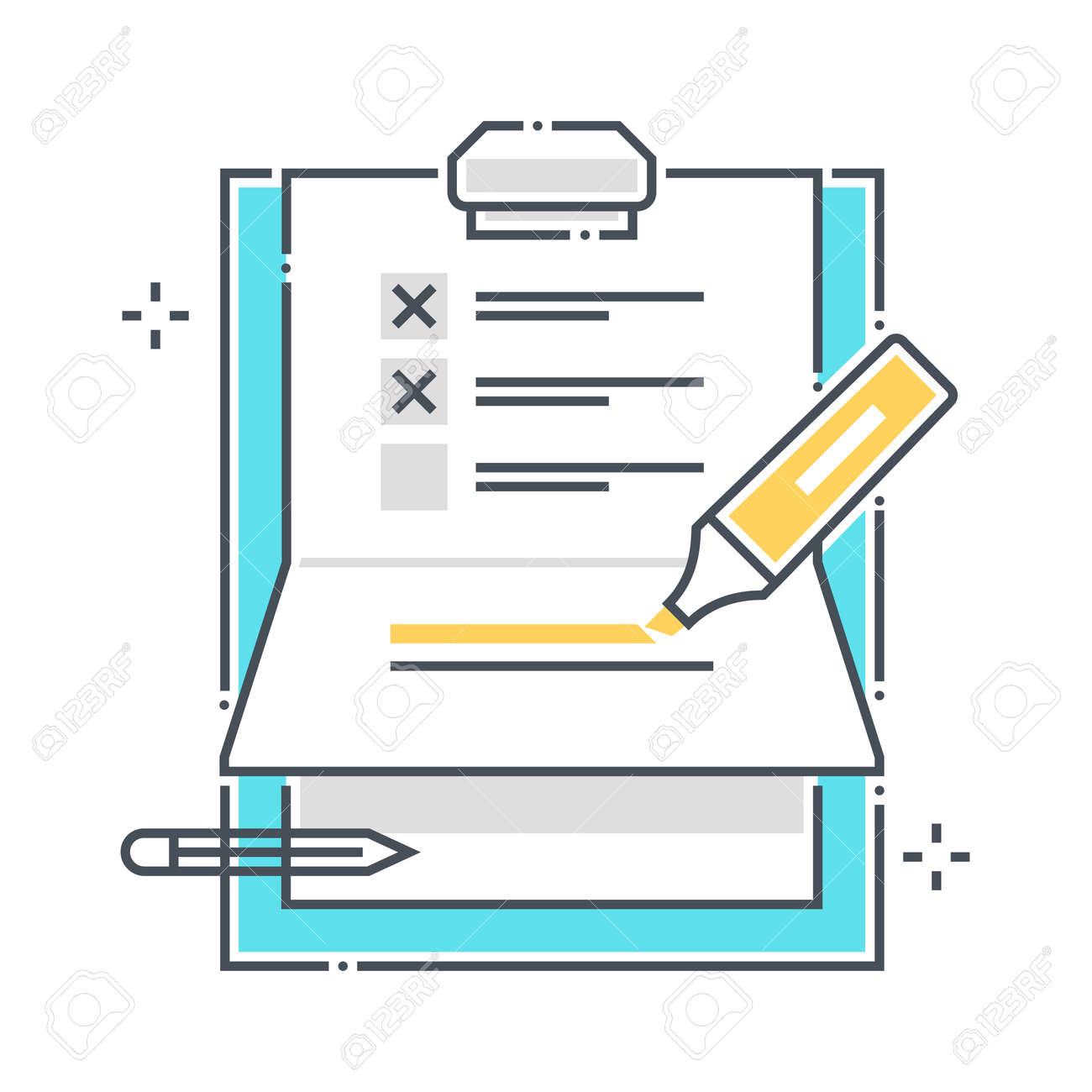 To do list related color line vector icon, illustration. The icon is about clipper, paper binder, pen, survey, marker. The composition is infinitely scalable. - 163698168