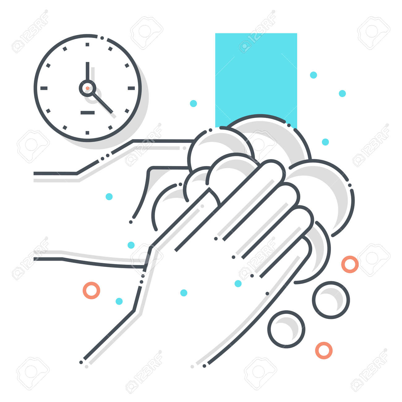 Cleaning related color line vector icon, illustration. The icon is about hand wash, soap, hands, water, contamination, epidemic, duration. The composition is infinitely scalable. - 163698266
