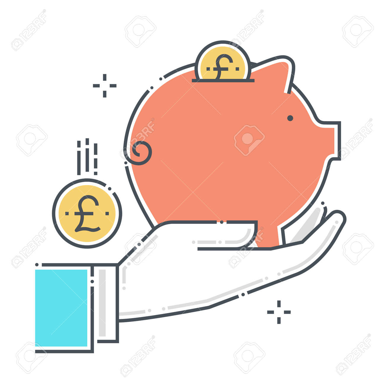 Piggy bank related color line vector icon, illustration. The icon is about investment protection, assurance, personal valuables, savings, save money. The composition is infinitely scalable. - 163698268
