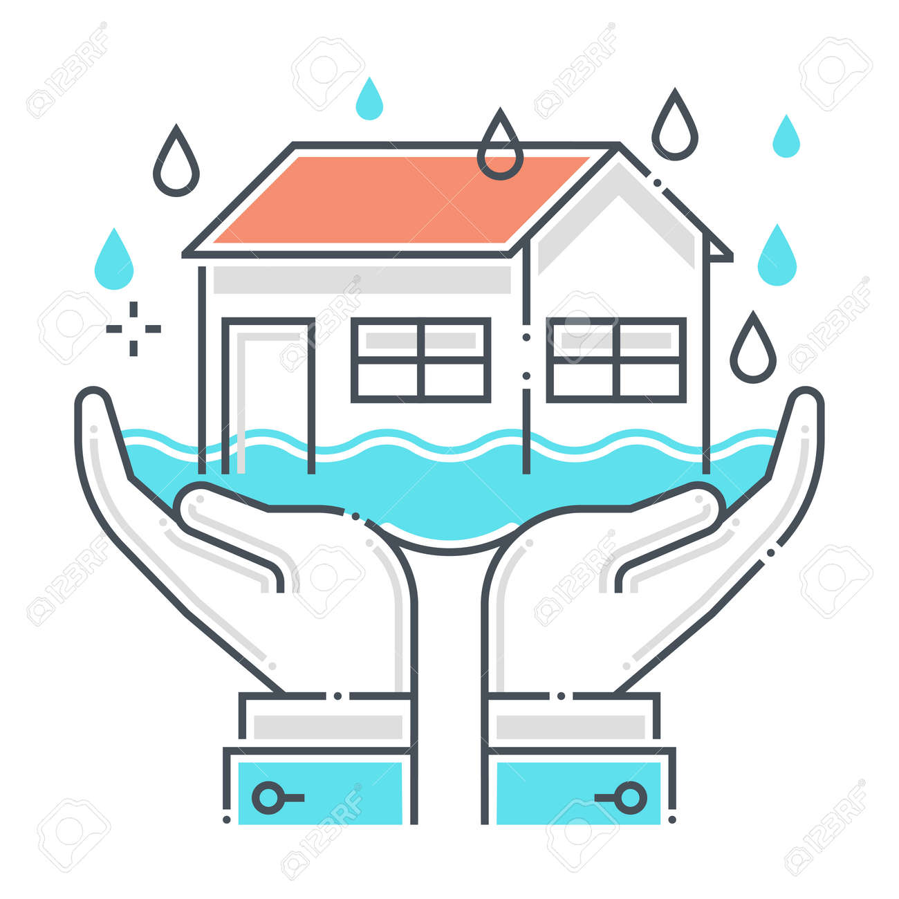 Flood protection related color line vector icon, illustration. The icon is about assurance, natural disaster, house, rain, building, water, sea. The composition is infinitely scalable. - 163698269