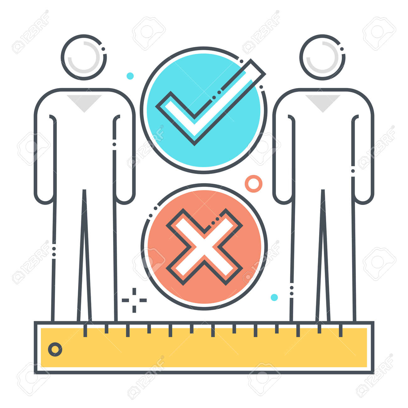 Social distance related color line vector icon, illustration. The icon is about meter, feet, ruler, protection, corona virus, contamination, epidemic. The composition is infinitely scalable. - 163698270