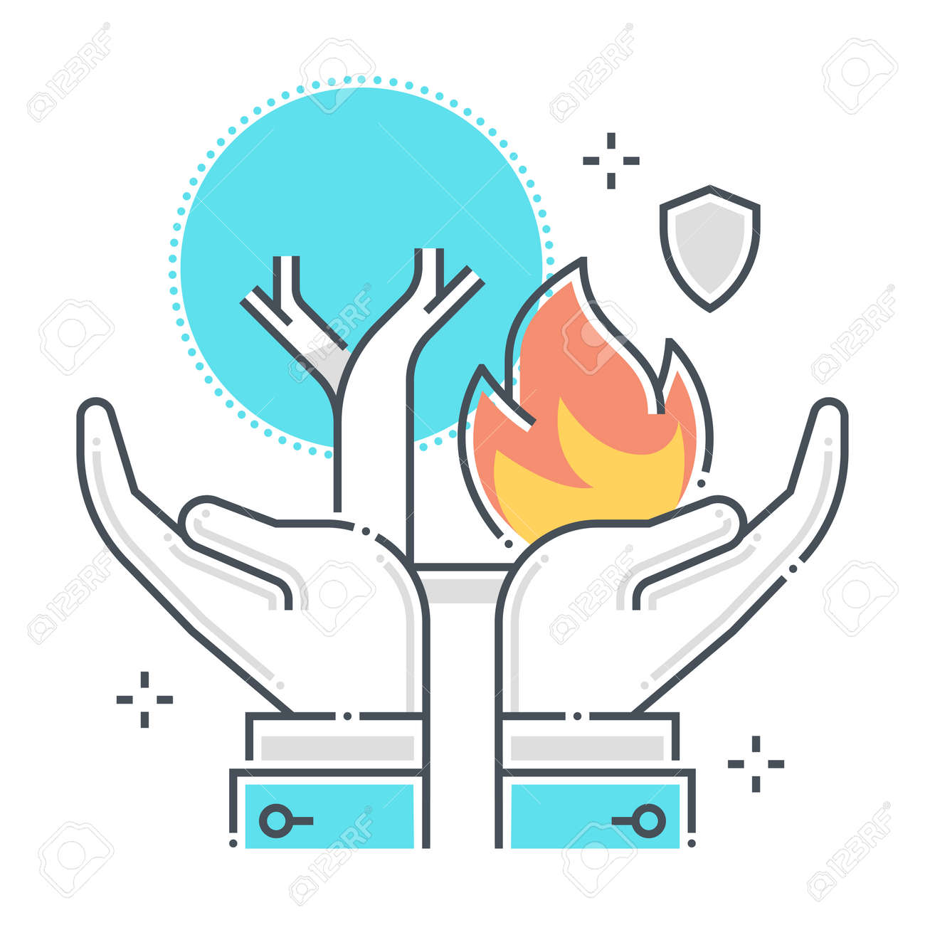 Natural disaster related color line vector icon, illustration. The icon is about assurance, tree, forest, ecology, hands. The composition is infinitely scalable. - 163698308