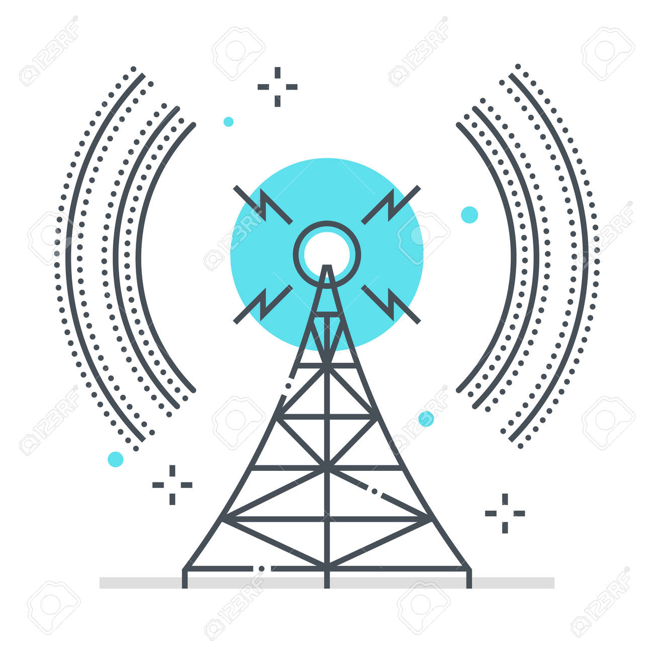 Broadcasting related color line vector icon, illustration. The icon is about communication, network, station, tower, wifi, wireless. The composition is infinitely scalable. - 163698310